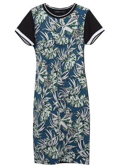 Black Short Sleeve with Green Leaf Print Midi Dress 21.67