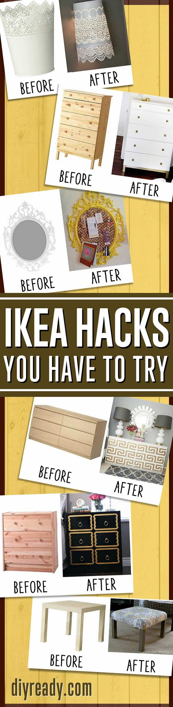 DIY Home Decor Ideas - IKEA Hacks | How To Make Easy Rustic Home Decor By DIY Ready http://diyready.com/15-amazing-ikea-hacks/