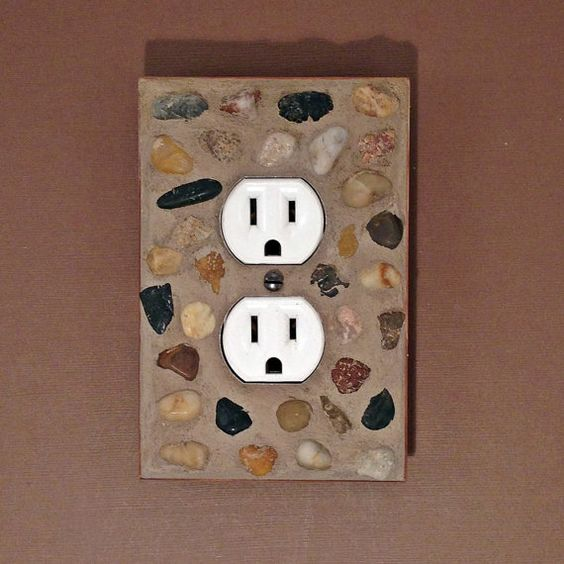 Pebble Rock Mosaic Outlet Cover  Stacked by JudyEvansCollection, $20.00
