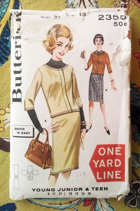 Butterick 2355 Junior, Teen Jacket and Skirt Pattern Size 13 - Vintage 1962 $5.00