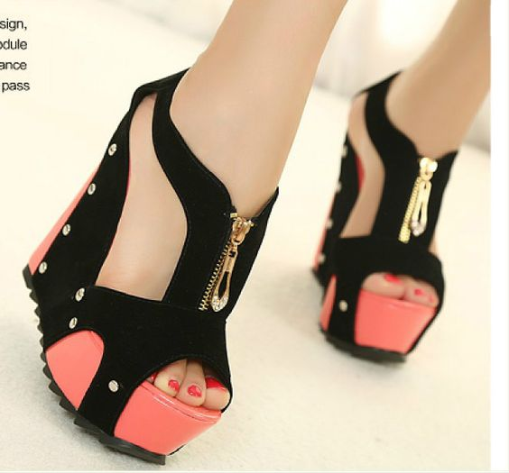 Fashion women High Heel Pump Platform club Shoes suede wedge ...