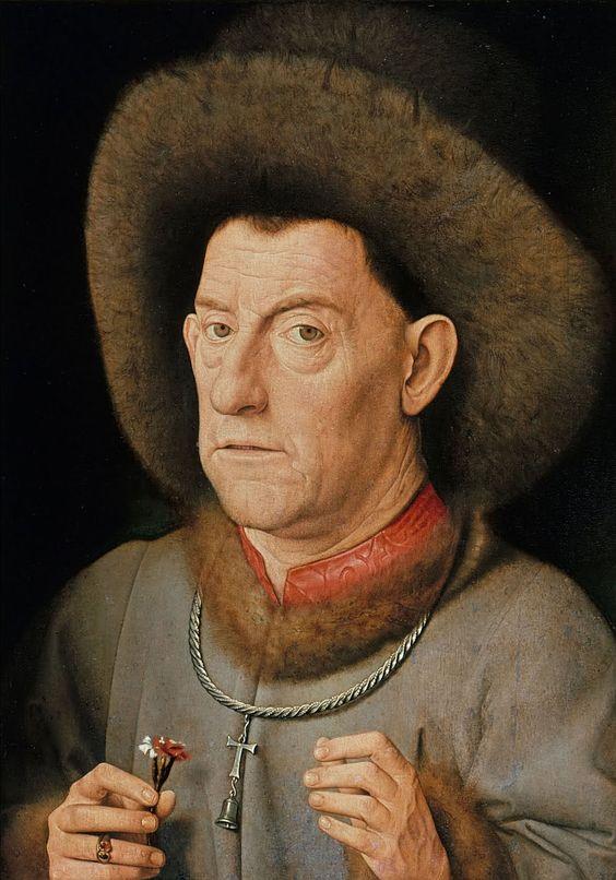Jan van Eyck, De man met de anjer, ca. 1435, olieverf op paneel, 40 x 31 cm, Gemäldegalerie, Berlijn.: