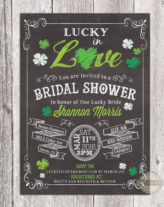 Paper & Party Supplies: Valentine 2016 Lucky in Love Shamrock Chalkboard Bridal Shower
