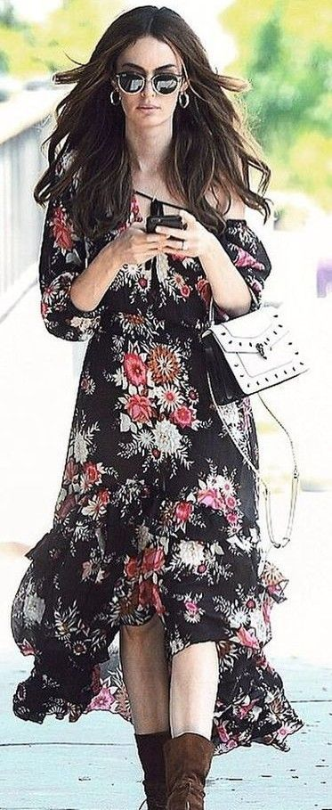 Black Floral Maxi Dress                                                                             Source: