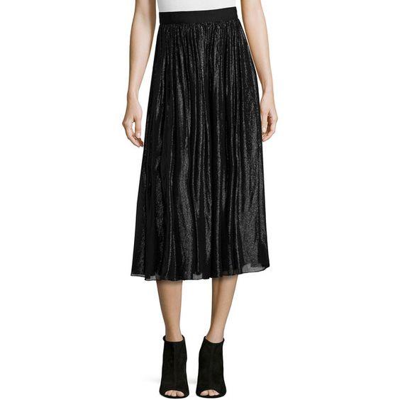 Alice + Olivia Rosemarie Silk-Blend Midi Skirt (6.396.960 IDR) ❤ liked on Polyvore featuring skirts, black, knee length a line skirt, black midi skirt, mid calf black skirt, a line midi skirt and black skirt