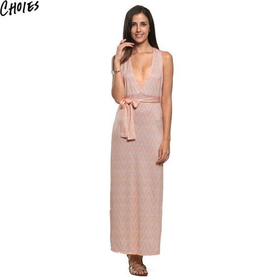 Choies Sexy Women Orange Plunge V Neck Chevron Print Split Side Beach Maxi Dress…