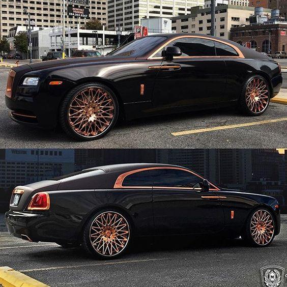 "Rolls Royce Wraith on the @lexaniofficial Rose Gold 24"" wheels x @ym_motors…"