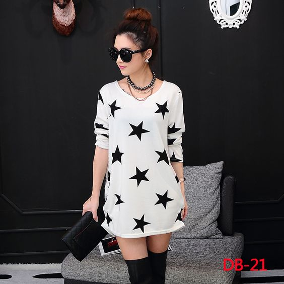 2016 new female autumn large size long-sleeve dress / women's all match printing leisure loose render dresses