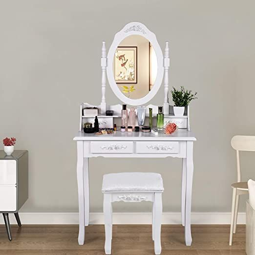 Vanity Table Set White Ship From Usa With Oval Mirror And Makeup Organizer With 4 Drawers Dressing Table Cushioned Stool