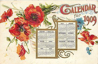 New Year~Calendar 1909~Red Poppies~12 Months~Art Nouveau~Gold Leaf Emboss~1907