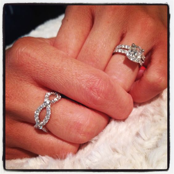 Push present idea! Diamond ribbon eternity ring symbolizing you, him, and at the intersection, baby.