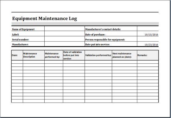 equipment maintenance log template excel