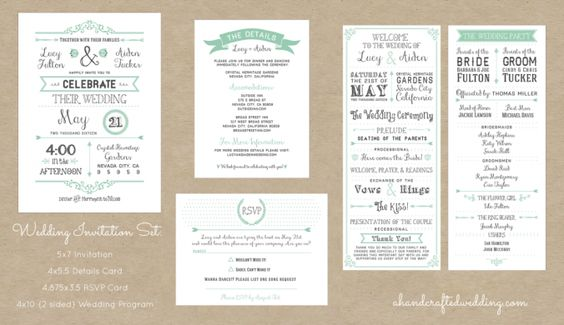 Customized Wedding Invitation Sets | A Handcrafted Wedding #rustic #vintage #wedding #invitations #invitationset #printable