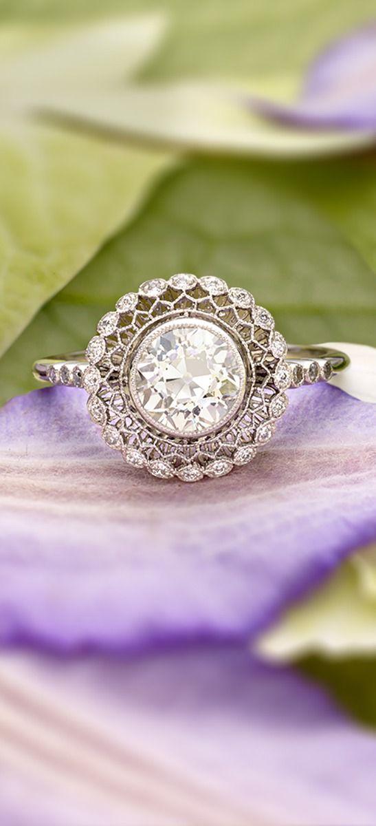 ornate beautiful brilliant cut diamond engagement ring