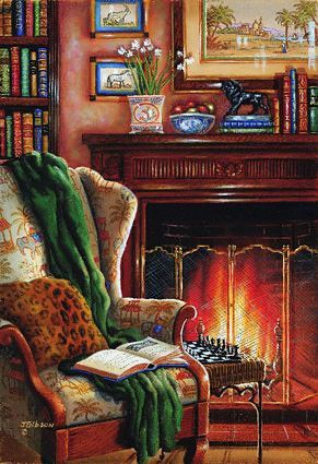 Image result for 50's housewife drinking tea by fireplace