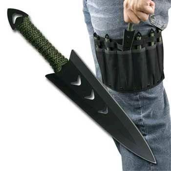 Throwing Knife 6 Piece Set with Leg Sheath Black - BRAND NEW