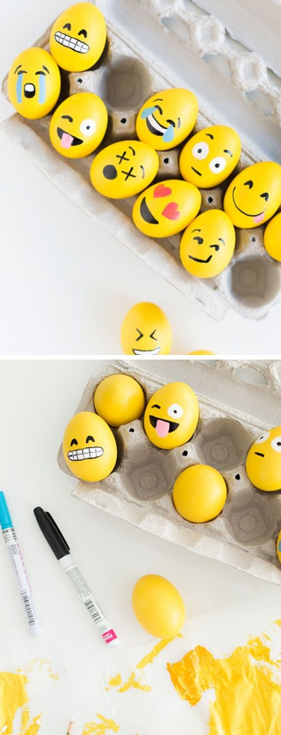 DIY Emoji Easter Eggs | Click Pic for 20 DIY Easter Egg Decorating Ideas for Kids | Easy Easter Egg Crafts for Toddlers: