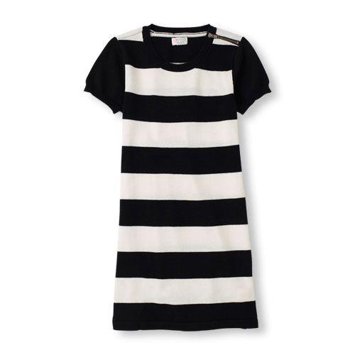 Short Sleeve Striped Sweater Dress
