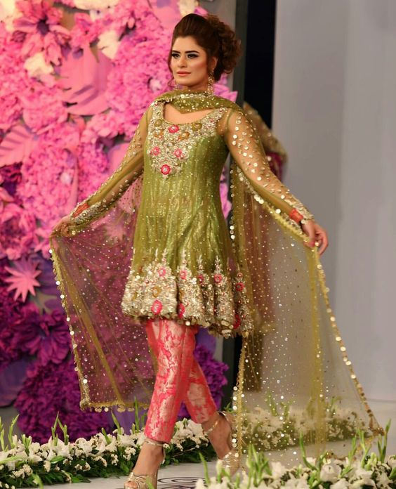 Pear green short embroidered net frock with banarsi pink capri