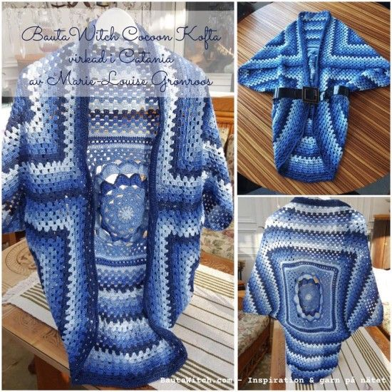 Japanese Flower Crochet Cocoon Granny Square Jacket Free Pattern: