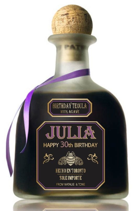 Personalized Gold Tequila Patron Labels ( 750 ml.) Unique Birthday Gift.