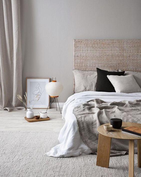 ナチュラルインテリア 寝室 コーディネート例 自然素材 リネン ベッド
