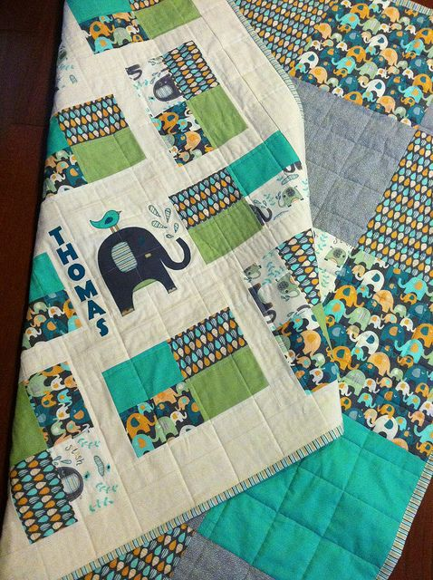 Elephant splash baby boy quilt for thomas this fabric is for Boy quilt fabric
