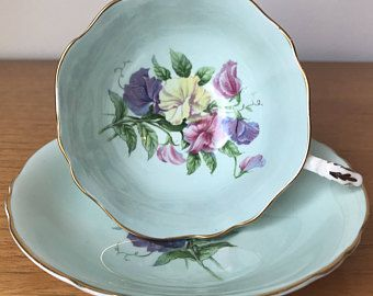 Paragon Sweet Pea Teacup and Saucer, Light Blue Aqua Tea Cup and Saucer, Vintage Floral Bone China