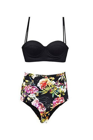Floral Print High-waisted Two-piece Swimsuit
