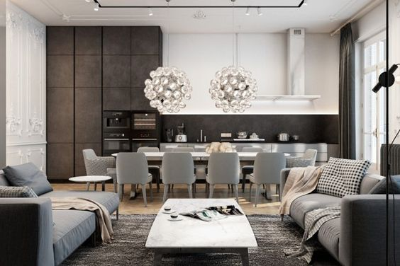 Separation des couleurs de cabinet cuisine.  Exquisite flat in Paris by Diff Studio - MyHouseIdea