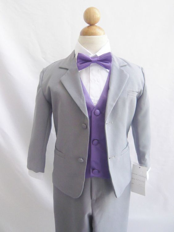 Formal Boy Suit Gray with Purple Eggplant Vest for Toddler Baby