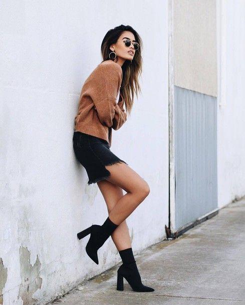 Sweater: tumblr camel camel skirt denim skirt mini skirt frayed denim skirt frayed denim boots sock