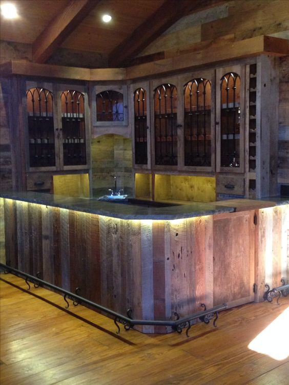 Custom vintage reclaimed wood barn siding bar diy home for Bars made from barn wood