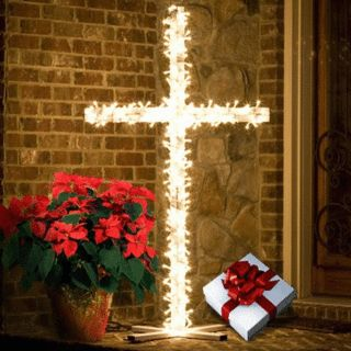 """what color lights for a Cross at Christmas 
