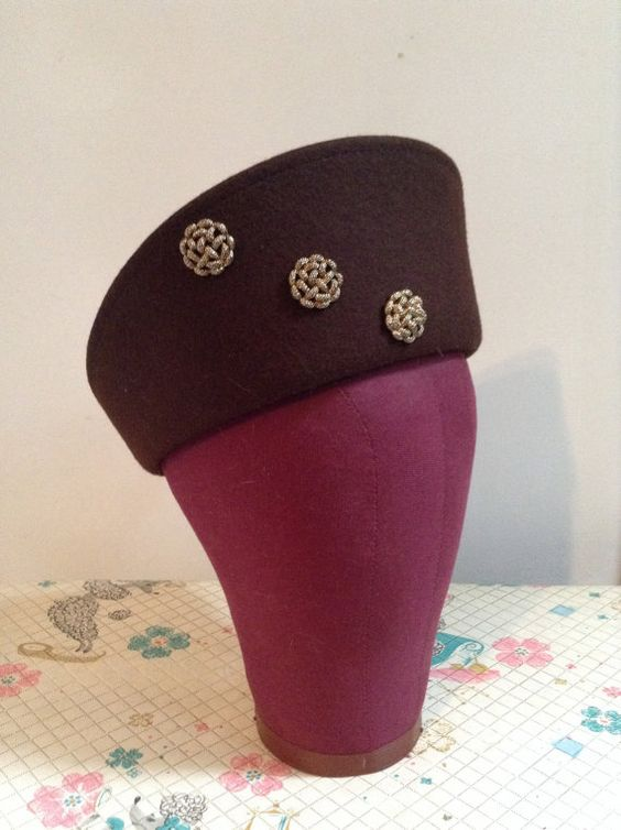 Tall Crown Like Brown Felt Blocked Hat with by PartyPoodlesVintage