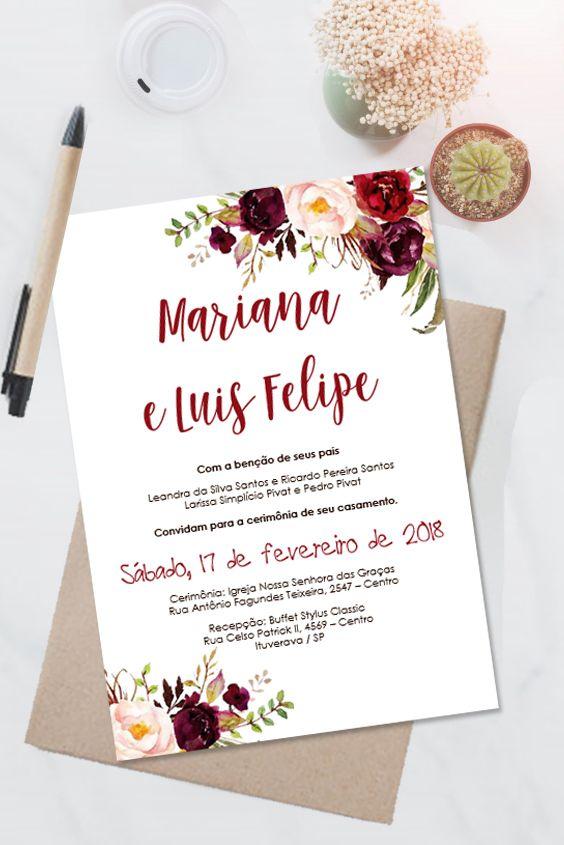 Convite Casamento Marsala Floral Editavel No Word 0007 Convite