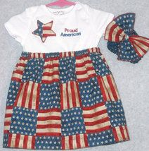 Baby and Toddler outfits now listed at HeavenlyGiggles Bonanza store.  Save an extra 15% off with coupon at checkout.  Old Glory Onesie Dress with Bow  $24 + 15% off coupon.