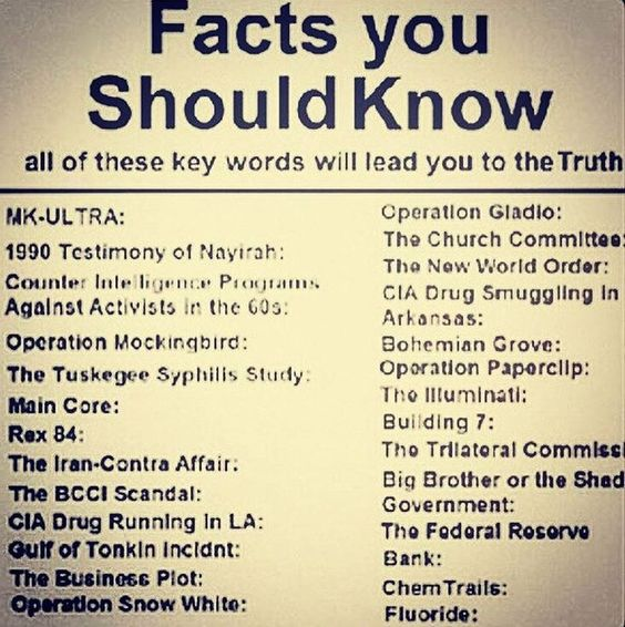 .. if you care to research them. Some on the list are of course likely to be false. But some are also likely to be true, like the whole plot of the Federal Reserve is corrupt, and fluoride is a neurotoxin