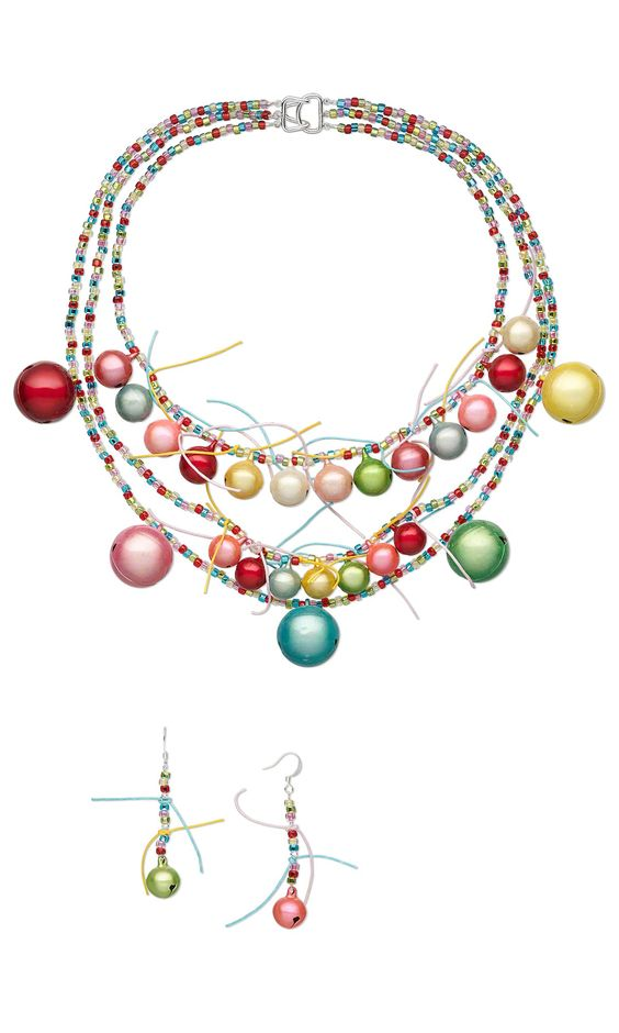 Jewelry Design - Triple-Strand Necklace and Earring Set with Cats Eye Bells, Matsuno® Seed Beads and Waxed Cotton Cord - Fire Mountain Gems and Beads