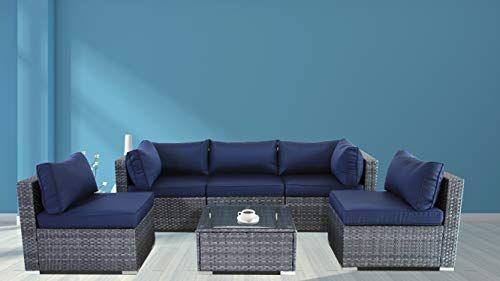 Jetime Outdoor Rattan Furniture 6pcs, Grey Rattan Garden Furniture With Blue Cushions