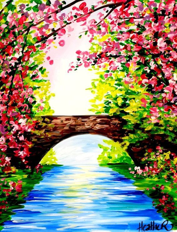 Spring Bridge Nature Paintings Spring Painting Easy Canvas Painting