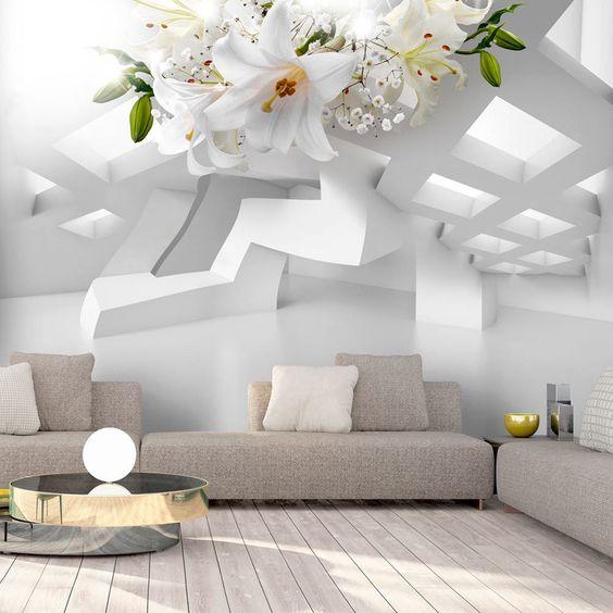 kleines-wohnzimmer-modern-gestalten-mit-perspektive-fototapete-in - moderne skulpturen wohnzimmer