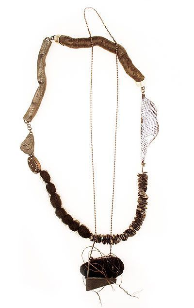 Carolina Hornauer Necklace: The collector 2009 Cotton thread, synthetic cotton, river pearls, silver, patina, steel wire, enamel on cooper, magnets, burned wood, tinted hair, parts constructed, silver ball chain, silver tube textured, stone, silver charcoal (casting piece):