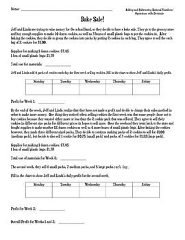 math worksheet : adding and subtracting rational numbers bake sale real world  : Adding And Subtracting Rational Numbers Worksheet
