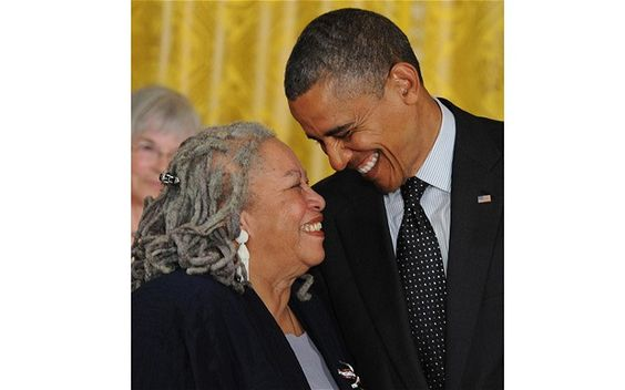 Miss Toni Morrison and President Obama when presenting her with the Presidential Medal of Freedom.