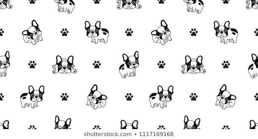 Dog Seamless Pattern French Bulldog Paw Vector Repeat Background Tile Cartoon Wallpaper Isolated Black Dog Wallpaper Dog Wallpaper Iphone Cartoon Dog