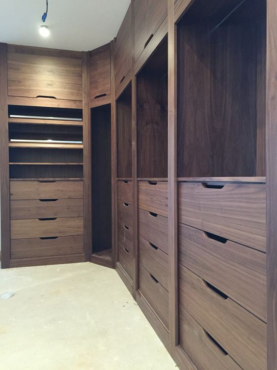 Walnut walk-in closet