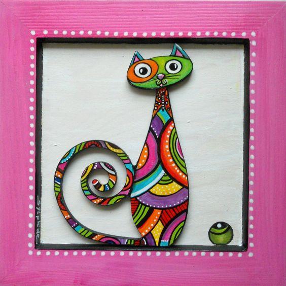 """Un tableau du chat """"Papillon"""" haut en couleurs : Décorations murales par sylphide:"""