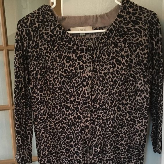 Cheetah print bottom down sweater This is a fun, sassy button down cardigan! Smoke and pet free home  LOFT Tops Button Down Shirts