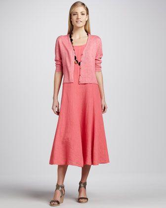 Lightweight Linen Cropped Cardigan & Handkerchief Long Linen Dress, Women\s by Eileen Fisher at Neiman Marcus.